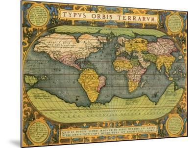 Oval World Map 1598-Abraham Ortelius-Mounted Giclee Print