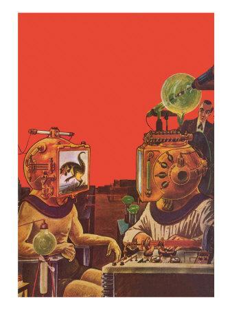 Sci Fi - Projection Helmets, 1929-Frank R^ Paul-Framed Giclee Print