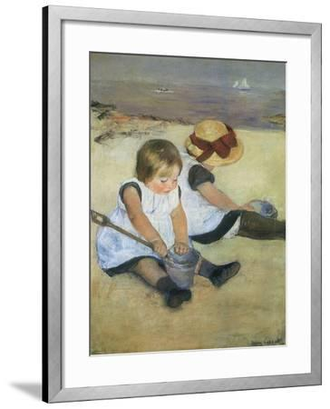 Children on the Beach, 1884-Mary Cassatt-Framed Giclee Print