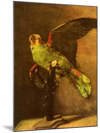 Green Parrot on Perch, 1886-Vincent van Gogh-Mounted Giclee Print