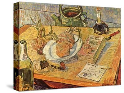 Still Life with Onions and Drawing Table, 1889-Vincent van Gogh-Stretched Canvas Print