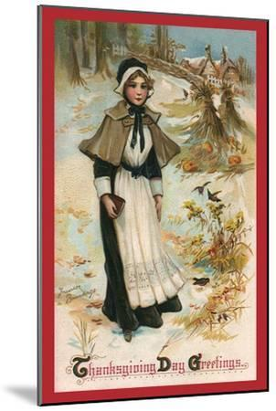 Pilgrim Girl in Snow, 1910--Mounted Giclee Print