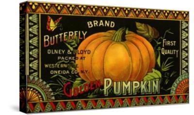 Pumpkin Label--Stretched Canvas Print