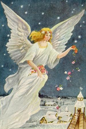 Angel Dropping Flowers--Stretched Canvas Print