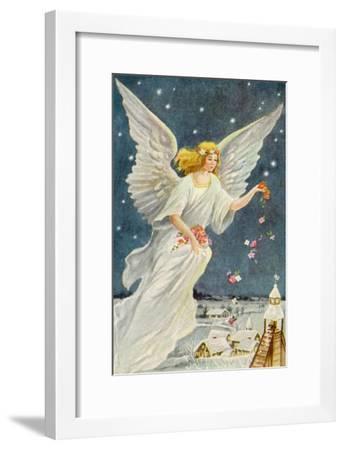Angel Dropping Flowers--Framed Giclee Print