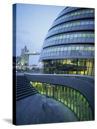 New City Hall and Tower Bridge at Dusk, London, England, United Kingdom, Europe-Charles Bowman-Stretched Canvas Print
