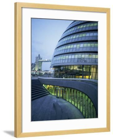 New City Hall and Tower Bridge at Dusk, London, England, United Kingdom, Europe-Charles Bowman-Framed Photographic Print