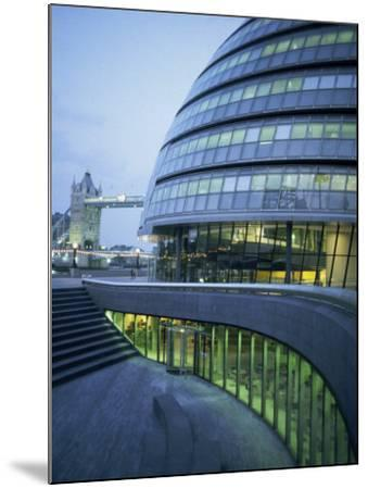 New City Hall and Tower Bridge at Dusk, London, England, United Kingdom, Europe-Charles Bowman-Mounted Photographic Print