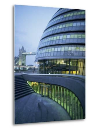 New City Hall and Tower Bridge at Dusk, London, England, United Kingdom, Europe-Charles Bowman-Metal Print