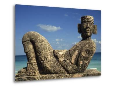 Statue of Chac-Mool, Cancun, Quitana Roo, Mexico, North America-Charles Bowman-Metal Print