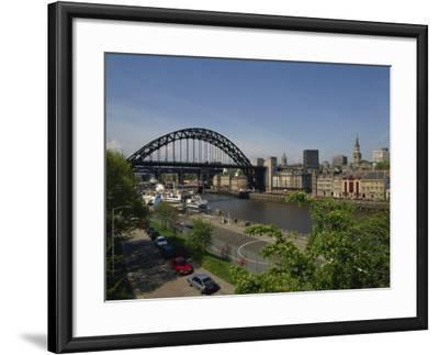 Tyne Bridge and Newcastle Skyline from Gateshead, Tyne and Wear, England, United Kingdom-Charles Bowman-Framed Photographic Print