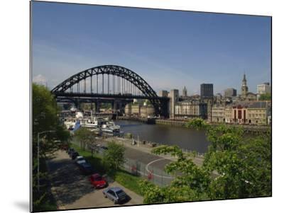 Tyne Bridge and Newcastle Skyline from Gateshead, Tyne and Wear, England, United Kingdom-Charles Bowman-Mounted Photographic Print