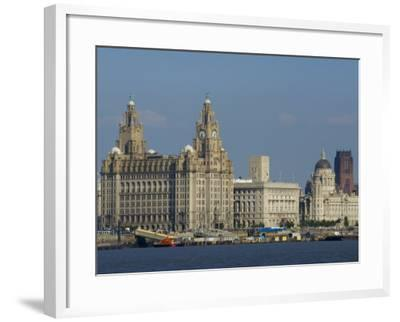 Thethree Graces and Cathedral from the River Mersey Ferry, Liverpool, Merseyside, England, UK-Charles Bowman-Framed Photographic Print