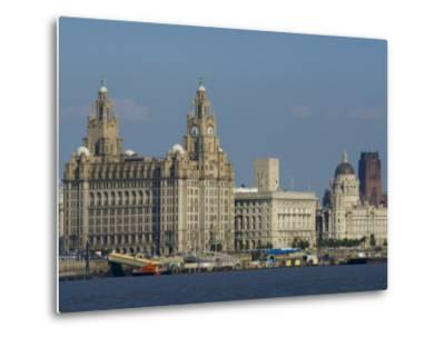Thethree Graces and Cathedral from the River Mersey Ferry, Liverpool, Merseyside, England, UK-Charles Bowman-Metal Print