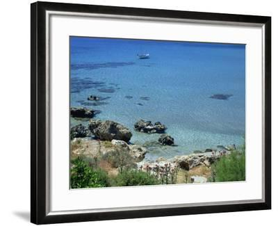Rocks and Sea, Frangokastello, Crete, Greek Islands, Greece, Europe-Jean Brooks-Framed Photographic Print