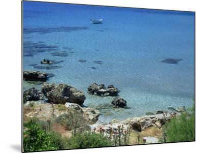 Rocks and Sea, Frangokastello, Crete, Greek Islands, Greece, Europe-Jean Brooks-Mounted Photographic Print