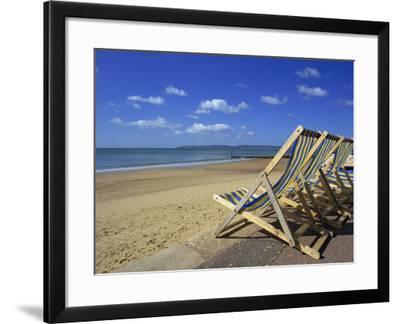 Deckchairs on the Promenade Overlooking Beach, West Cliff, Bournemouth, Dorset, England, UK-Pearl Bucknall-Framed Photographic Print