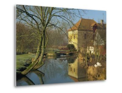 Watermill Reflected in Still Water, Near Montreuil, Crequois Valley, Nord Pas De Calais, France-Michael Busselle-Metal Print