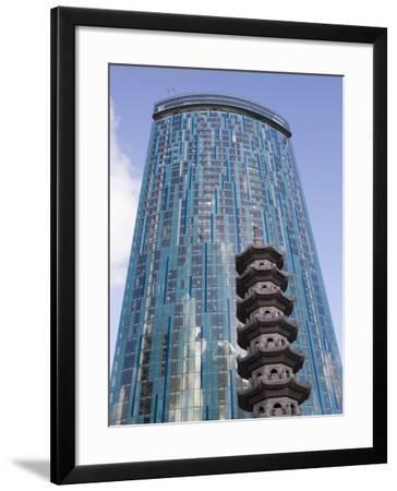 Beetham Tower, Radisson Sas Hotel, Pagoda, Chinese Quarter, Birmingham, England, United Kingdom-Martin Child-Framed Photographic Print