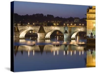 Charles Bridge and Smetana Museum Reflected in the River Vltava, Old Town, Prague, Czech Republic-Martin Child-Stretched Canvas Print