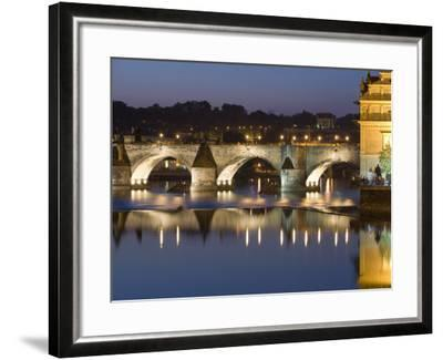 Charles Bridge and Smetana Museum Reflected in the River Vltava, Old Town, Prague, Czech Republic-Martin Child-Framed Photographic Print
