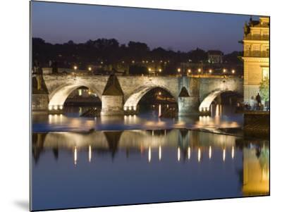 Charles Bridge and Smetana Museum Reflected in the River Vltava, Old Town, Prague, Czech Republic-Martin Child-Mounted Photographic Print