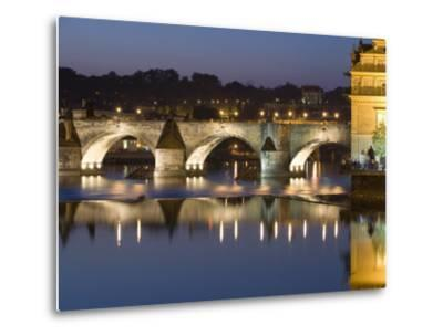 Charles Bridge and Smetana Museum Reflected in the River Vltava, Old Town, Prague, Czech Republic-Martin Child-Metal Print