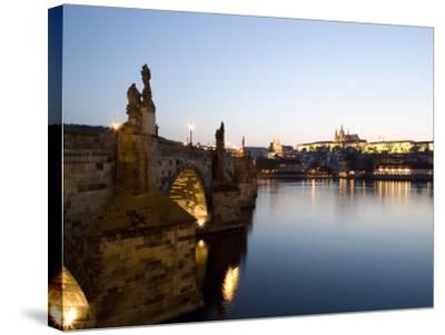 Charles Bridge, St. Vitus's Cathedral in the Distance, Prague, Czech Republic-Martin Child-Stretched Canvas Print