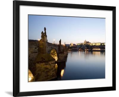 Charles Bridge, St. Vitus's Cathedral in the Distance, Prague, Czech Republic-Martin Child-Framed Photographic Print