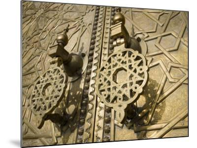 Detail of Bronze Door, Royal Palace, Fez El-Jedid, Fez, Morocco, North Africa, Africa-Martin Child-Mounted Photographic Print