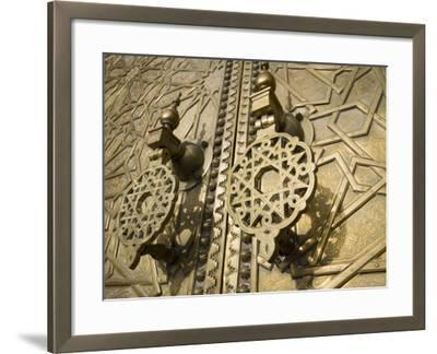 Detail of Bronze Door, Royal Palace, Fez El-Jedid, Fez, Morocco, North Africa, Africa-Martin Child-Framed Photographic Print