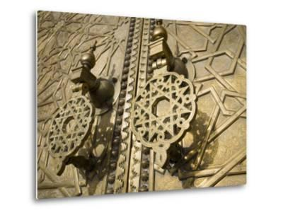 Detail of Bronze Door, Royal Palace, Fez El-Jedid, Fez, Morocco, North Africa, Africa-Martin Child-Metal Print