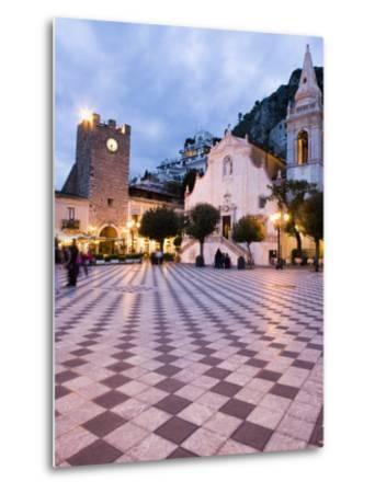 Piazza Ix Aprile, with the Torre Dell Orologio and San Giuseppe Church, Taormina, Sicily, Italy-Martin Child-Metal Print