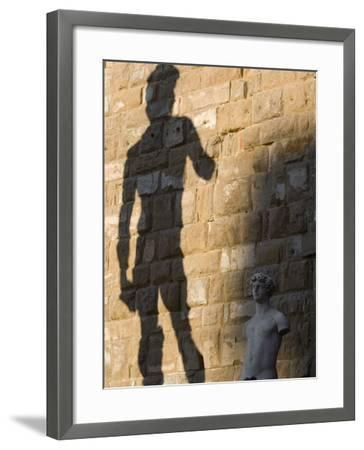 Shadow of Statue of David, Piazza Della Signoria, Florence, Tuscany, Italy, Europe-Martin Child-Framed Photographic Print