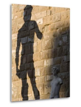 Shadow of Statue of David, Piazza Della Signoria, Florence, Tuscany, Italy, Europe-Martin Child-Metal Print