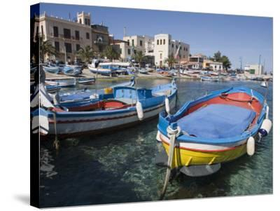 Traditional Fishing Boats, Harbour, Mondello, Palermo, Sicily, Italy, Mediterranean, Europe-Martin Child-Stretched Canvas Print