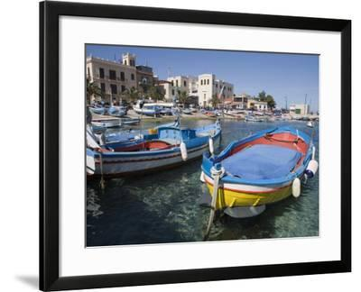 Traditional Fishing Boats, Harbour, Mondello, Palermo, Sicily, Italy, Mediterranean, Europe-Martin Child-Framed Photographic Print