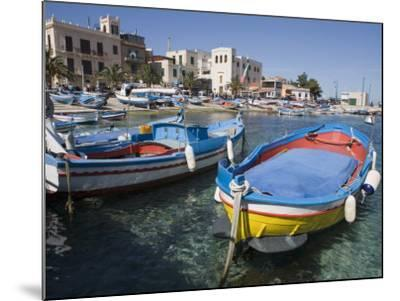 Traditional Fishing Boats, Harbour, Mondello, Palermo, Sicily, Italy, Mediterranean, Europe-Martin Child-Mounted Photographic Print