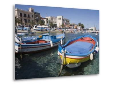 Traditional Fishing Boats, Harbour, Mondello, Palermo, Sicily, Italy, Mediterranean, Europe-Martin Child-Metal Print