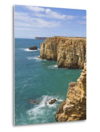 Atlantic Ocean and Cliffs on the Cape St. Vincent Peninsula, Sagres, Algarve, Portugal, Europe-Neale Clarke-Metal Print