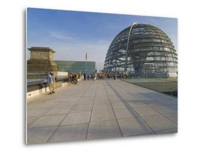 Tourists on the Roof Terrace of the Famous Reichstag Parliament Building, Berlin, Germany-Neale Clarke-Metal Print