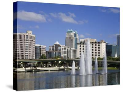 Fountain, Lake Lucerne, Orlando, Florida, United States of America, North America-Richard Cummins-Stretched Canvas Print