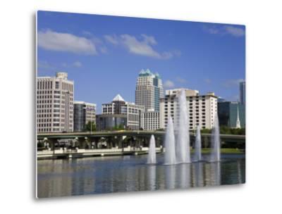Fountain, Lake Lucerne, Orlando, Florida, United States of America, North America-Richard Cummins-Metal Print