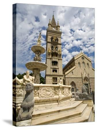 Orione Fountain, Clock Tower and Duomo, Messina, Sicily, Italy, Europe-Richard Cummins-Stretched Canvas Print