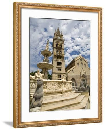 Orione Fountain, Clock Tower and Duomo, Messina, Sicily, Italy, Europe-Richard Cummins-Framed Photographic Print