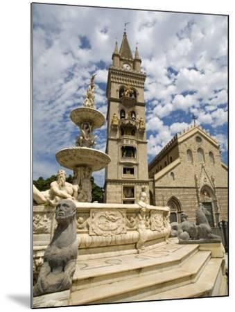 Orione Fountain, Clock Tower and Duomo, Messina, Sicily, Italy, Europe-Richard Cummins-Mounted Photographic Print