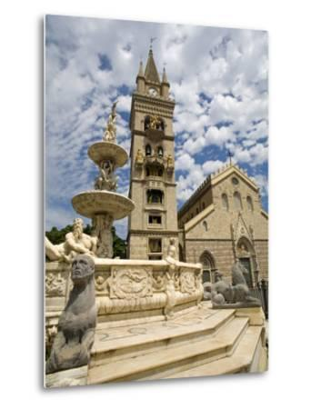 Orione Fountain, Clock Tower and Duomo, Messina, Sicily, Italy, Europe-Richard Cummins-Metal Print