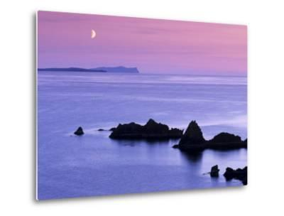 Sunset over Sand Wick and Rising Moon over Foula in Distance, Eshaness, Shetland, Scotland, UK-Patrick Dieudonne-Metal Print