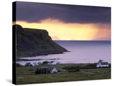Sunset and Stormy Weather Near Bornesketaig, Trotternish, Isle of Skye, Inner Hebrides, Scotland-Patrick Dieudonne-Stretched Canvas Print