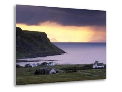 Sunset and Stormy Weather Near Bornesketaig, Trotternish, Isle of Skye, Inner Hebrides, Scotland-Patrick Dieudonne-Metal Print